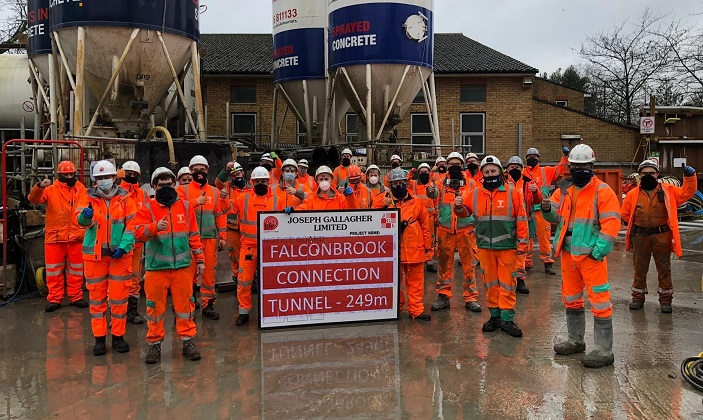 Joseph Gallagher complete project milestone on Tideway's longest Super Sewer connection tunnel.