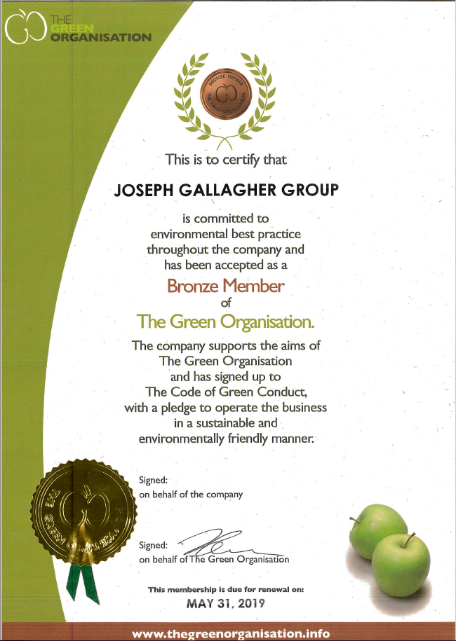 Joseph Gallagher awarded Bronze membership of The Green Organisation
